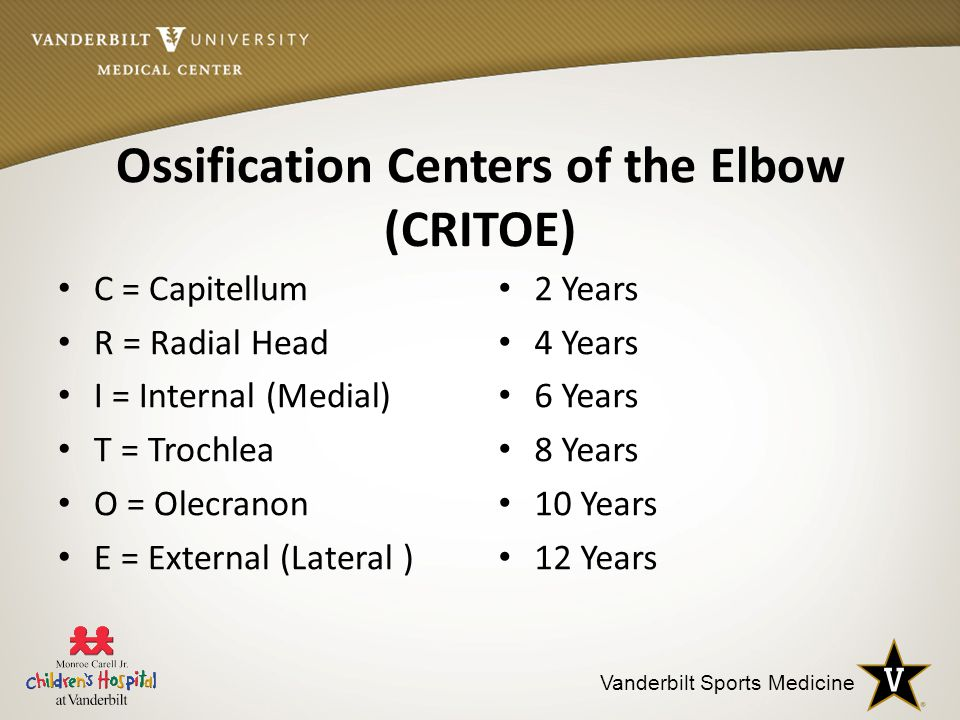 Ossification Centers of the Elbow (CRITOE)