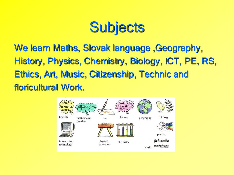 Subjects We learn Maths, Slovak language ,Geography,