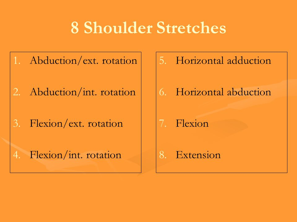 8 Shoulder Stretches Abduction/ext. rotation Abduction/int. rotation