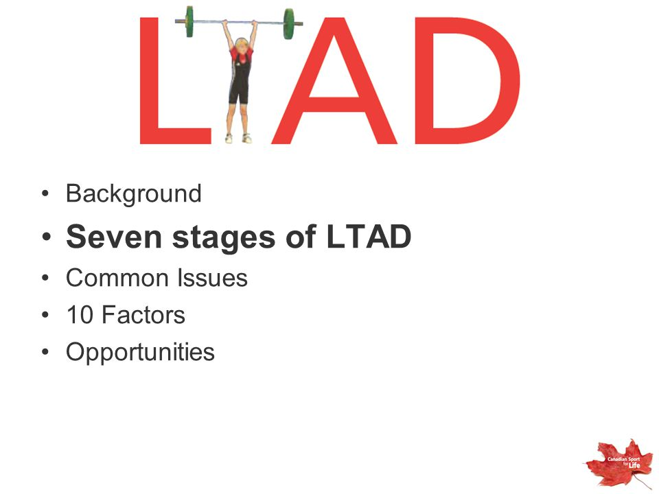 Background Seven stages of LTAD Common Issues 10 Factors Opportunities