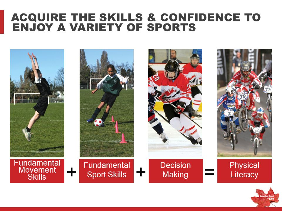 + + = ACQUIRE THE SKILLS & CONFIDENCE TO ENJOY A VARIETY OF SPORTS
