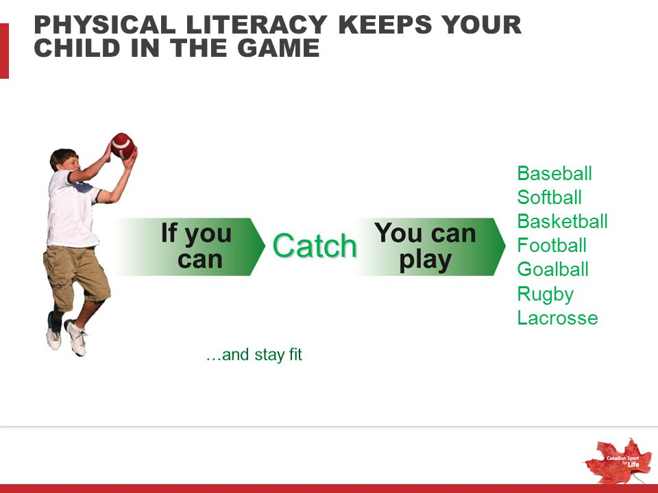 Catch PHYSICAL LITERACY KEEPS YOUR CHILD IN THE GAME Baseball Softball