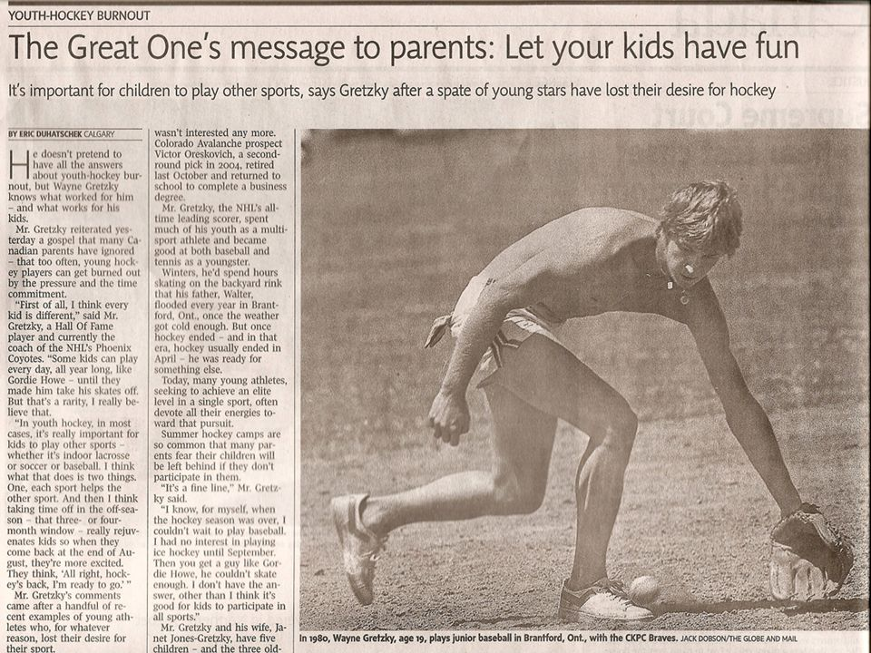 The great One talks about having a varied sport experience as a kid – like he did – and not be in a hurray to specialize……