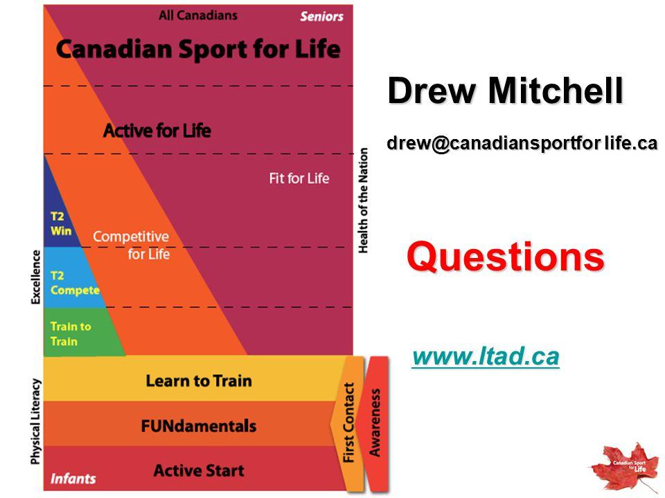 Drew Mitchell drew@canadiansportfor life.ca Questions www.ltad.ca