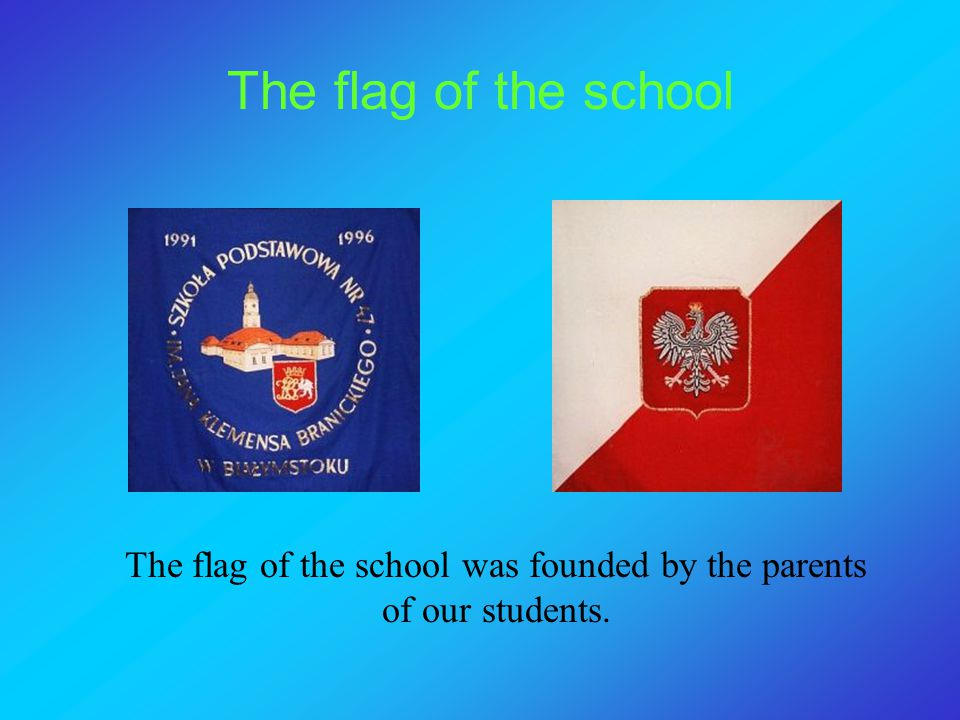 The flag of the school was founded by the parents of our students.