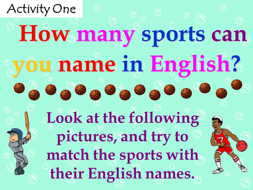 How many sports can you name in English