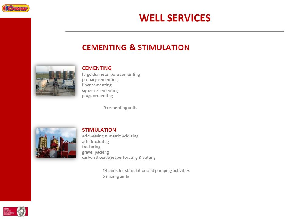 WELL SERVICES CEMENTING & STIMULATION CEMENTING STIMULATION