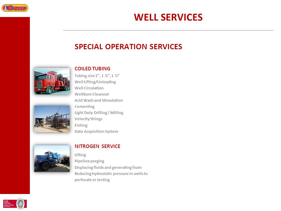 WELL SERVICES SPECIAL OPERATION SERVICES COILED TUBING