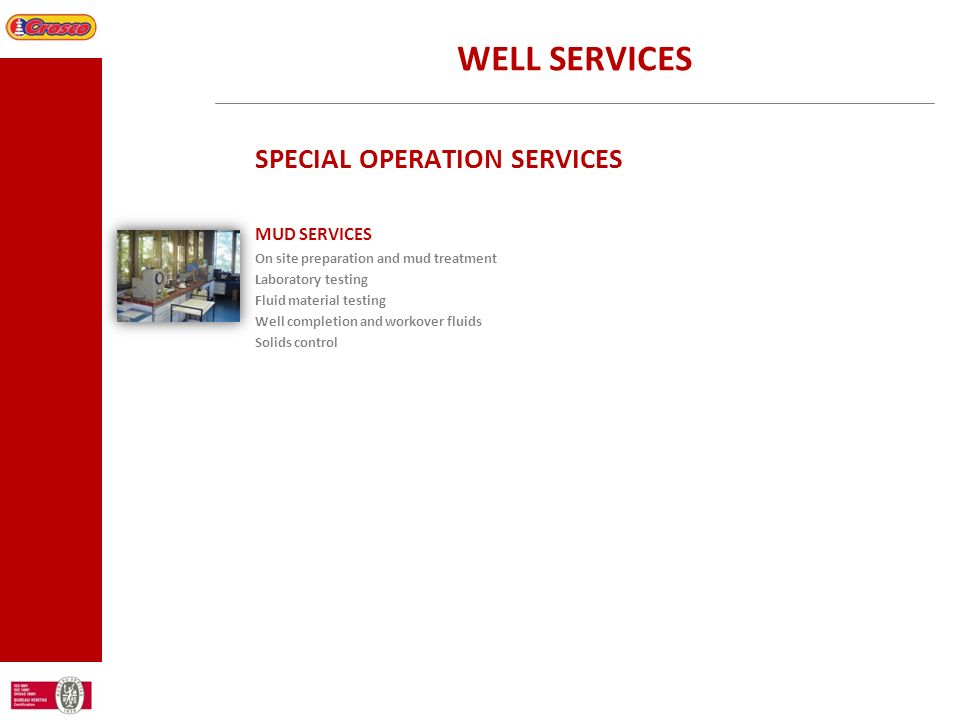 WELL SERVICES SPECIAL OPERATION SERVICES MUD SERVICES