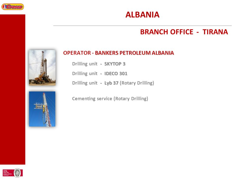 ALBANIA BRANCH OFFICE - TIRANA OPERATOR - BANKERS PETROLEUM ALBANIA