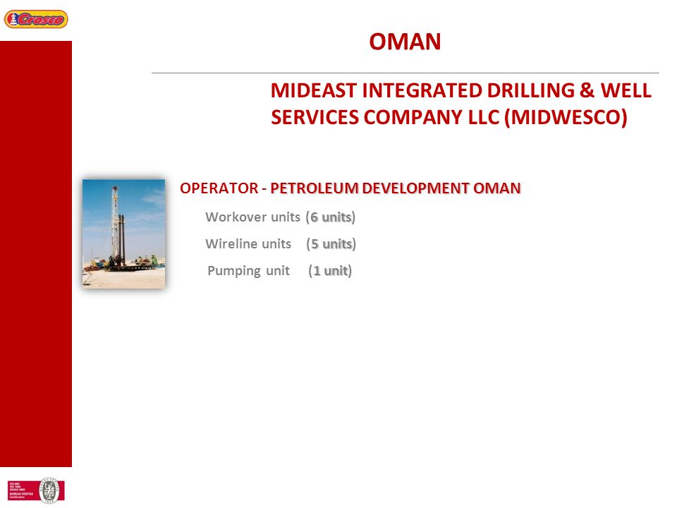 OMAN MIDEAST INTEGRATED DRILLING & WELL SERVICES COMPANY LLC (MIDWESCO) OPERATOR - PETROLEUM DEVELOPMENT OMAN.