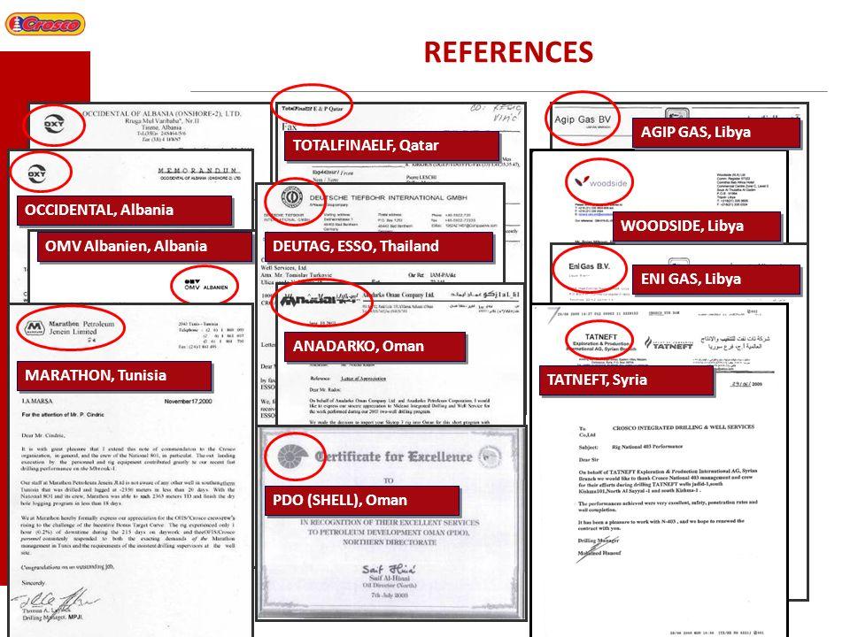 REFERENCES AGIP GAS, Libya TOTALFINAELF, Qatar OCCIDENTAL, Albania