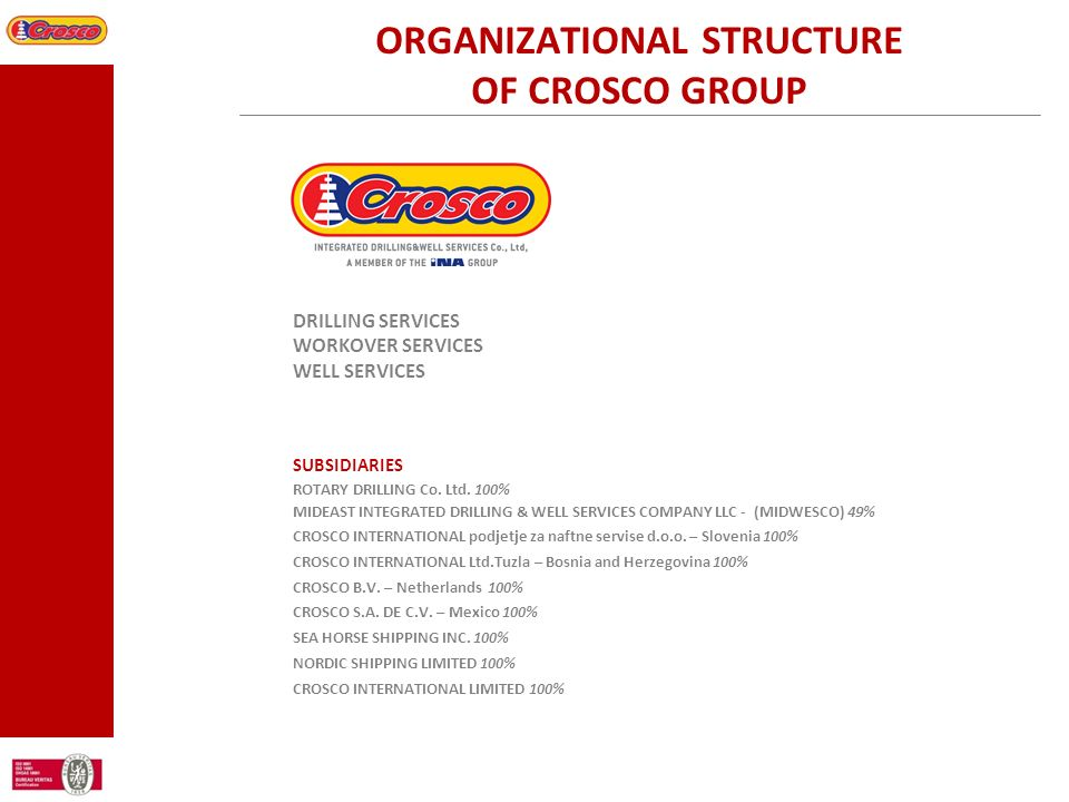 ORGANIZATIONAL STRUCTURE OF CROSCO GROUP