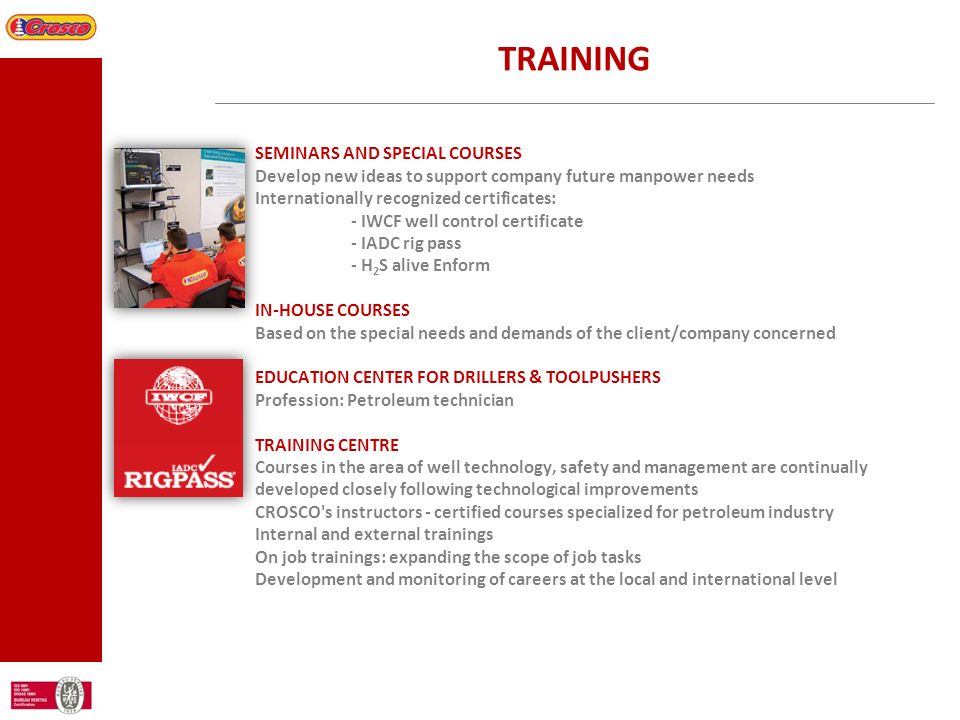 TRAINING SEMINARS AND SPECIAL COURSES