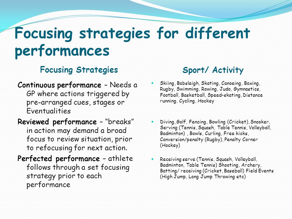 Focusing strategies for different performances