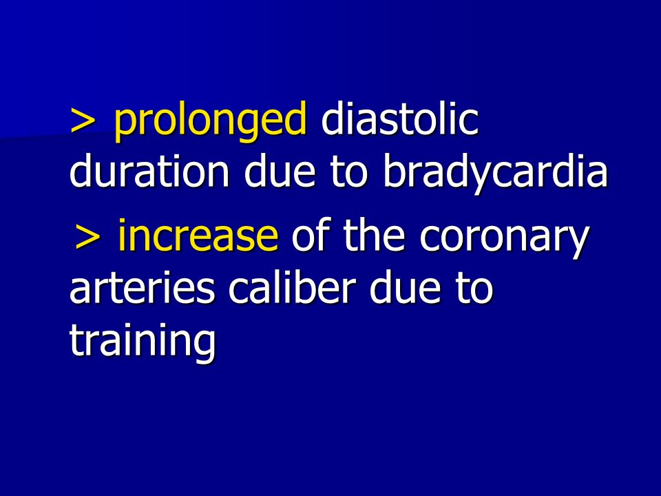 > increase of the coronary arteries caliber due to training