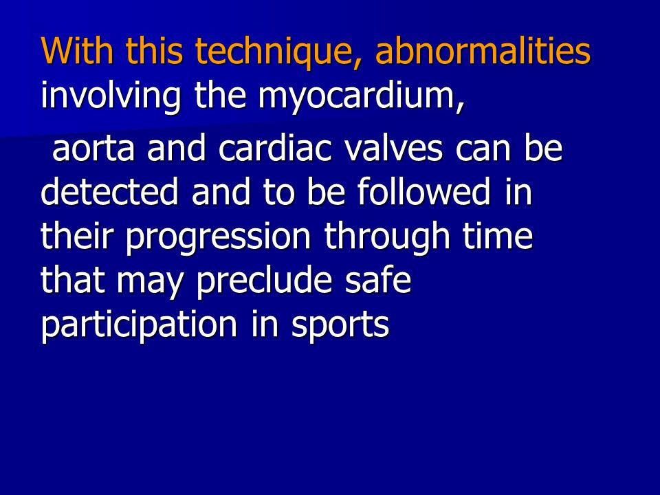 With this technique, abnormalities involving the myocardium,