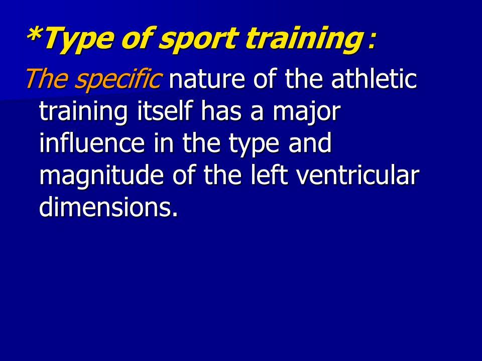 *Type of sport training: