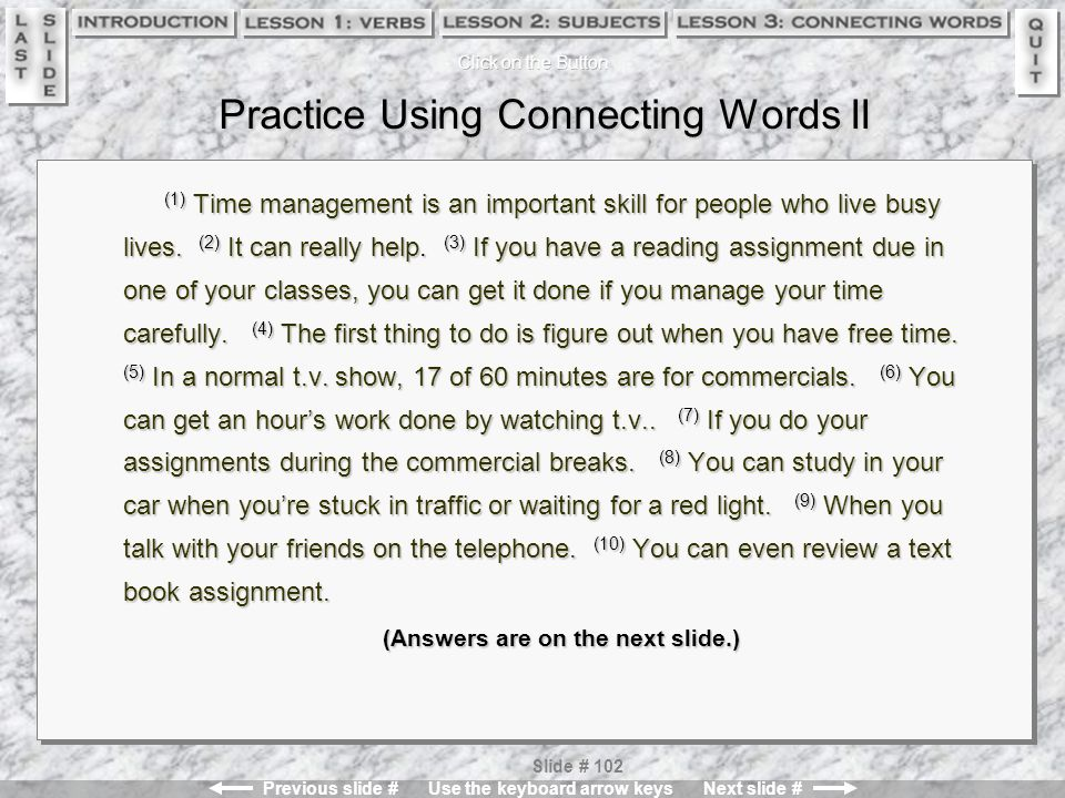 Practice Using Connecting Words II