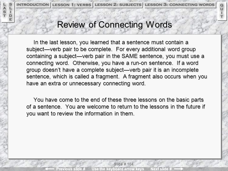 Review of Connecting Words