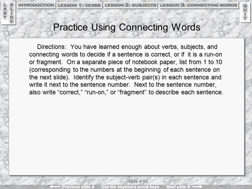 Practice Using Connecting Words