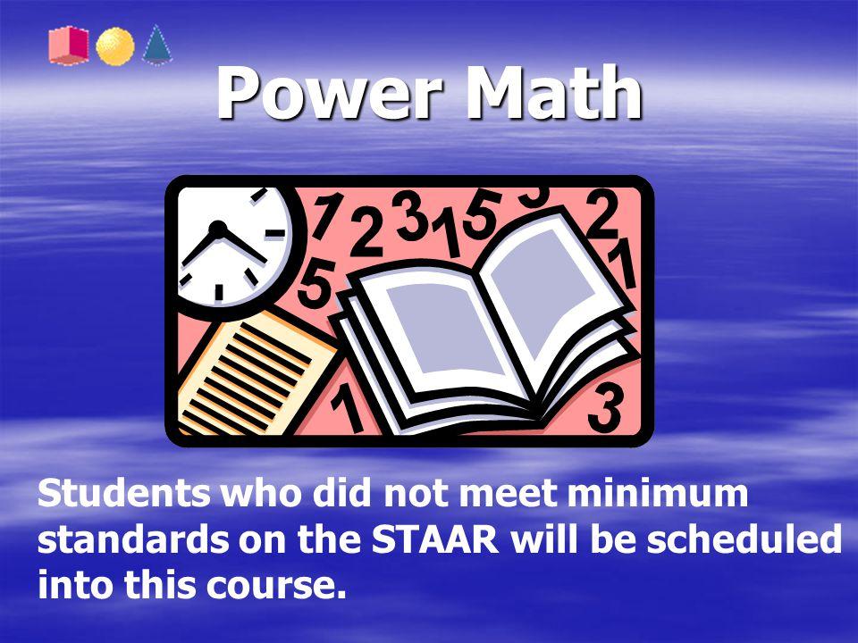 Power Math Students who did not meet minimum