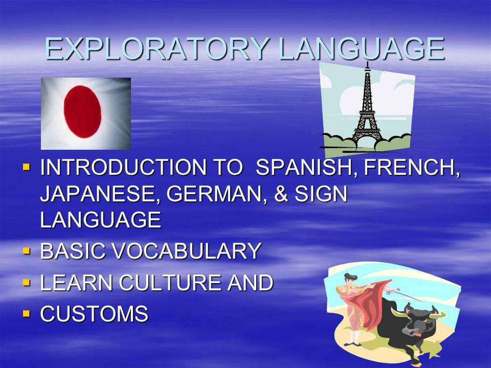 EXPLORATORY LANGUAGE INTRODUCTION TO SPANISH, FRENCH, JAPANESE, GERMAN, & SIGN LANGUAGE. BASIC VOCABULARY.