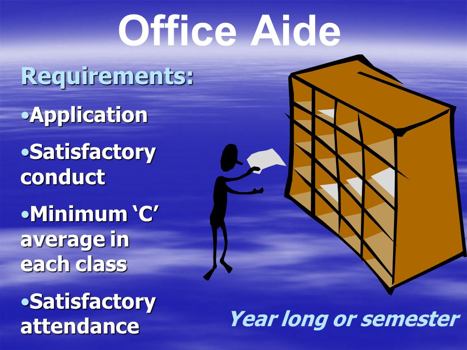 Office Aide Requirements: Application Satisfactory conduct