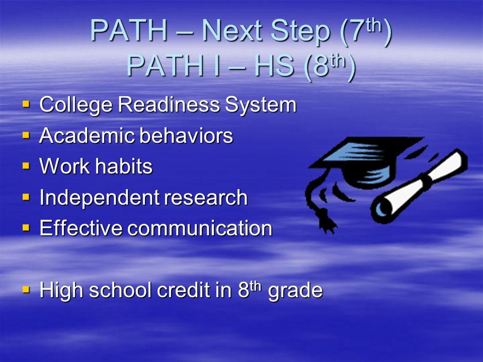 PATH – Next Step (7th) PATH I – HS (8th)