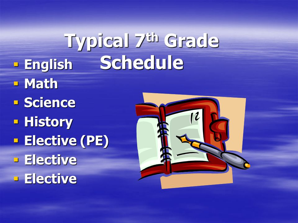 Typical 7th Grade Schedule