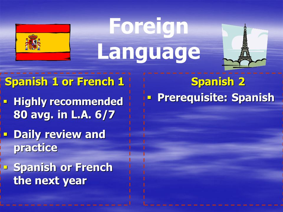 Foreign Language Spanish 1 or French 1 Daily review and practice