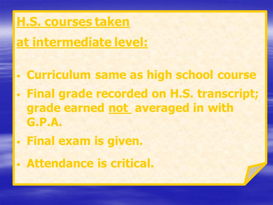 at intermediate level: