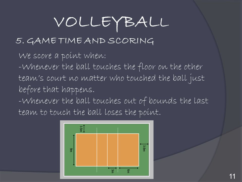 VOLLEYBALL 5. GAME TIME AND SCORING We score a point when: