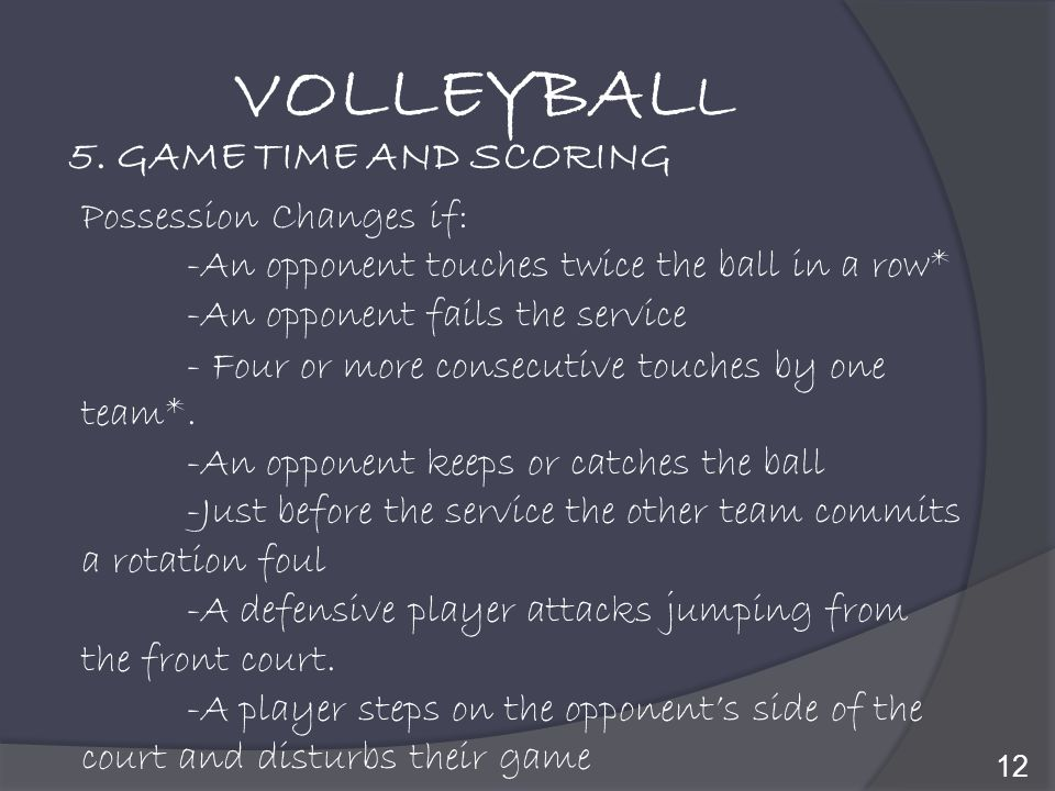 VOLLEYBALL 5. GAME TIME AND SCORING Possession Changes if: