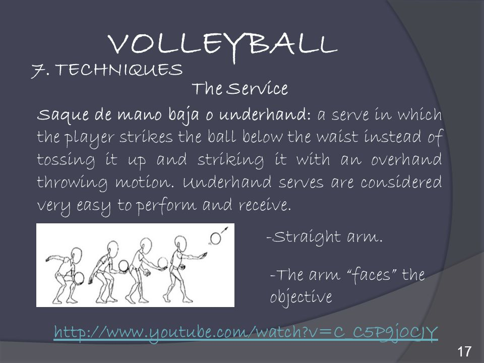 VOLLEYBALL 7. TECHNIQUES The Service
