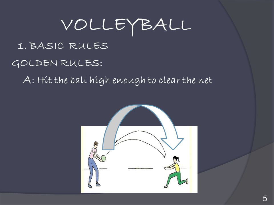 VOLLEYBALL A: Hit the ball high enough to clear the net 1. BASIC RULES