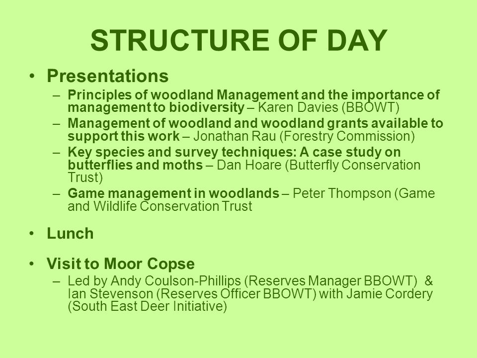 STRUCTURE OF DAY Presentations Lunch Visit to Moor Copse