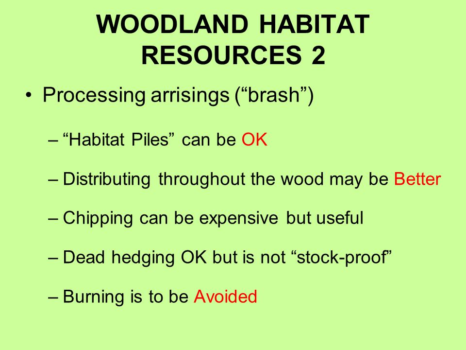 WOODLAND HABITAT RESOURCES 2