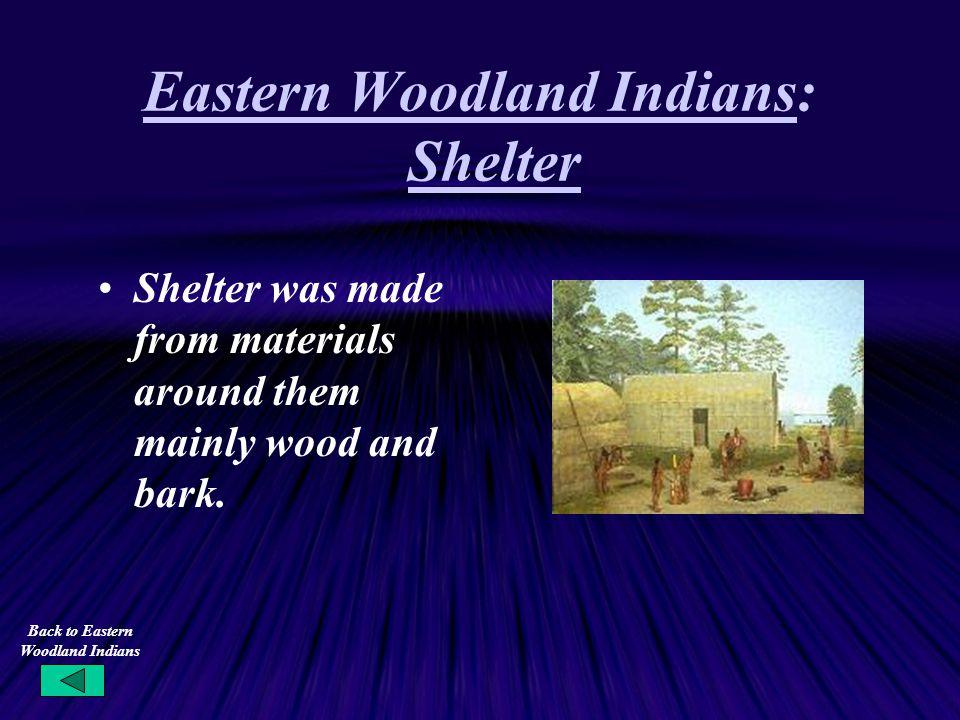 Eastern Woodland Indians: Shelter