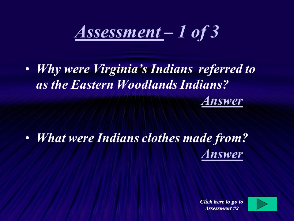 Click here to go to Assessment #2