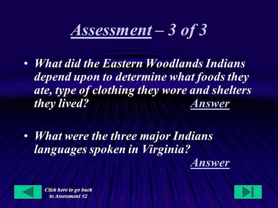 Click here to go back to Assessment #2