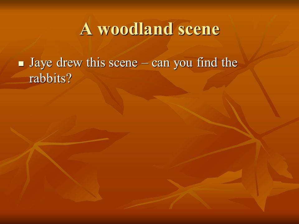 A woodland scene Jaye drew this scene – can you find the rabbits