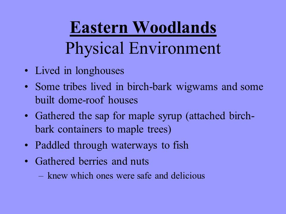 Eastern Woodlands Physical Environment