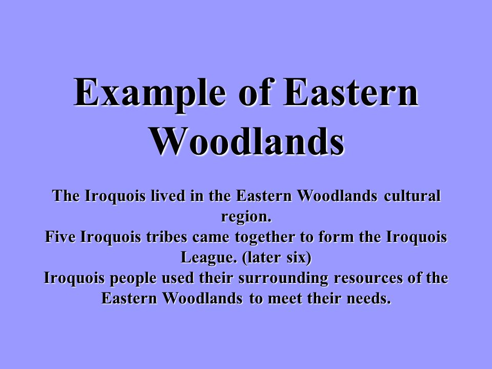 Example of Eastern Woodlands The Iroquois lived in the Eastern Woodlands cultural region.