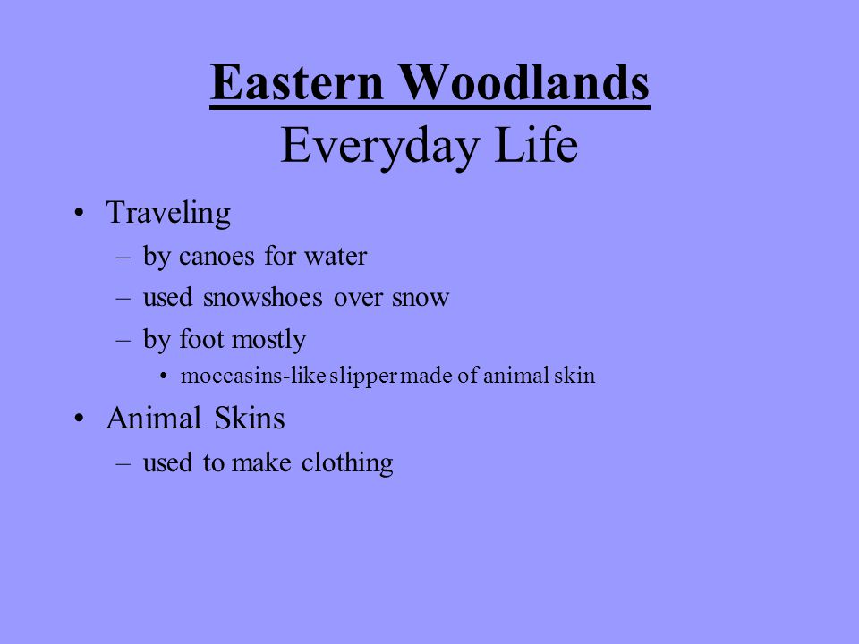 Eastern Woodlands Everyday Life