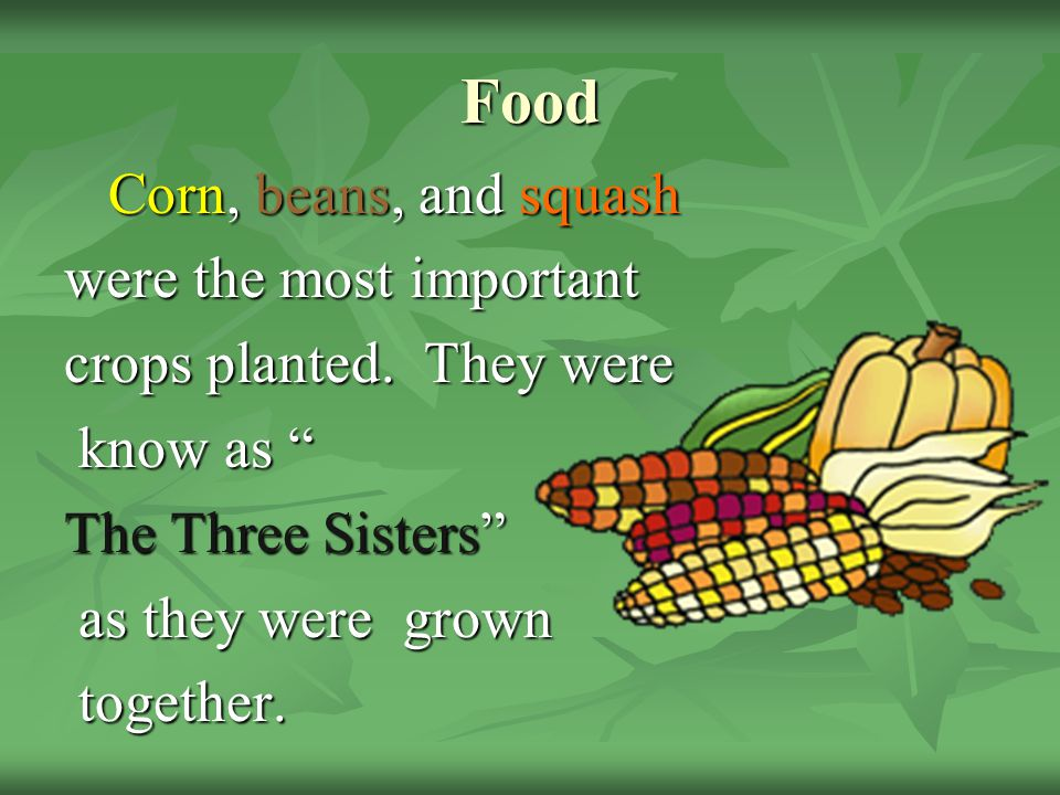 Food Corn, beans, and squash were the most important