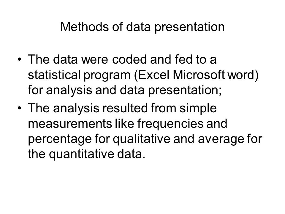 Methods of data presentation