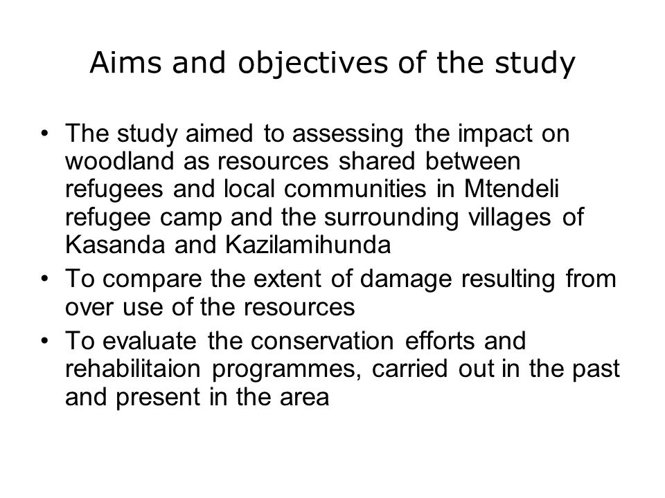 Aims and objectives of the study