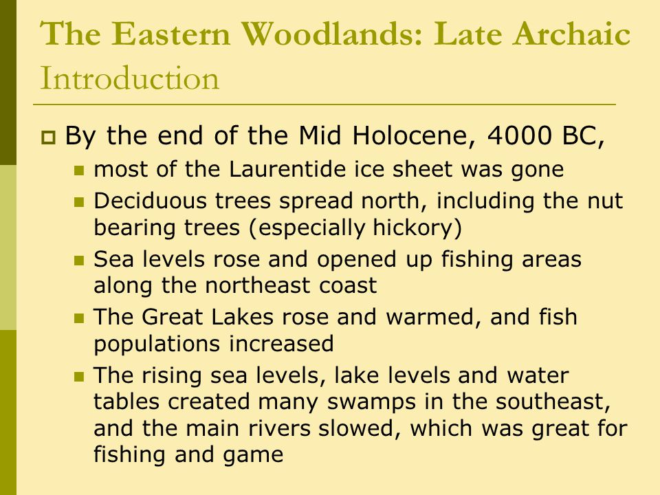The Eastern Woodlands: Late Archaic Introduction