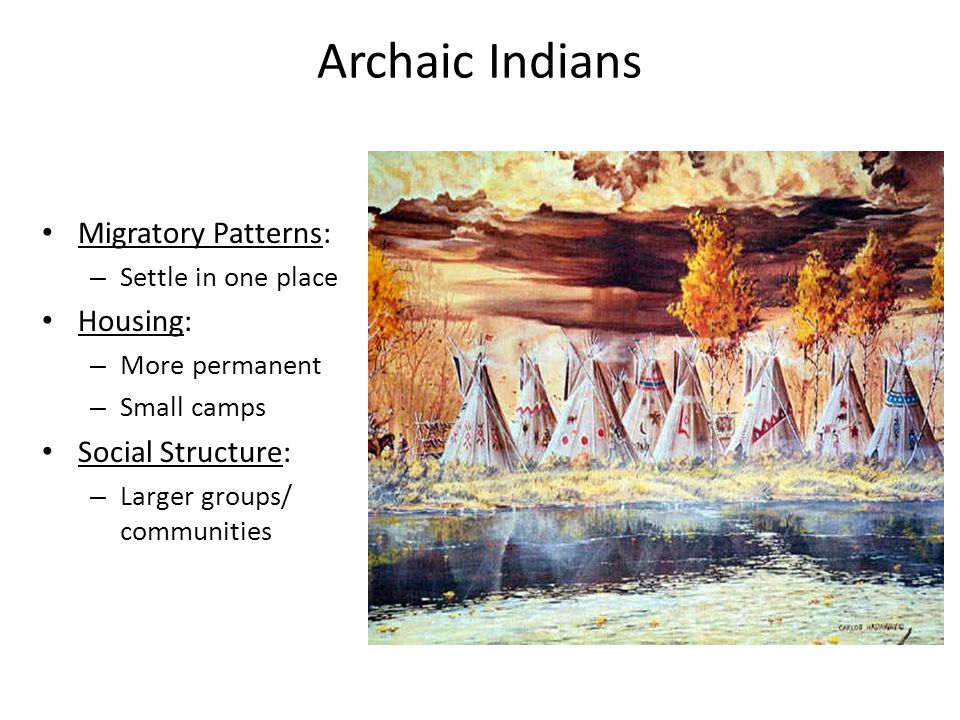 Archaic Indians Migratory Patterns: Housing: Social Structure: